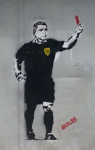 Romario (cited in my story criticising the lack of a public transportation legacy) showing the red card in a cool piece of art in Sao Paulo