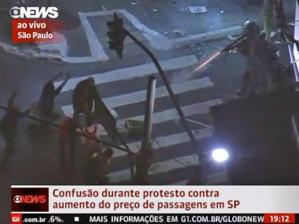 Still from Globonews coverage of the protests